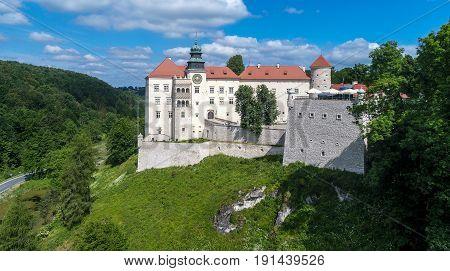 Historic castle Pieskowa Skala near Krakow in Poland. Aerial view.