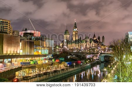 Canadian Parliamentary Building and Rideau Canal in Ottawa