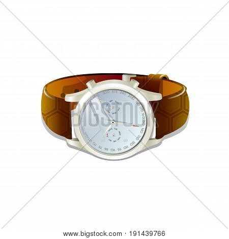 Classic men's watch with brown leather bracelet. Vector 3d illustration isolated on white background.
