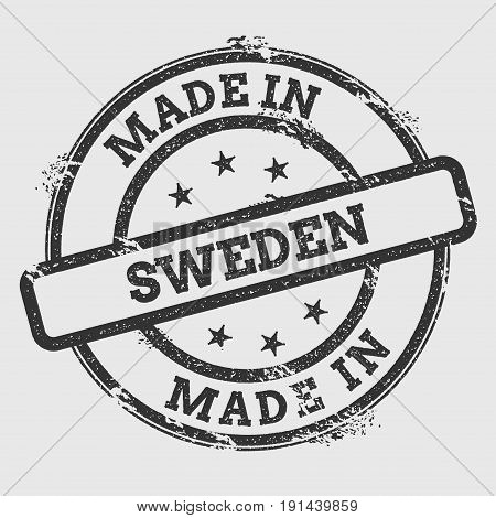 Made In Sweden Rubber Stamp Isolated On White Background. Grunge Round Seal With Text, Ink Texture A