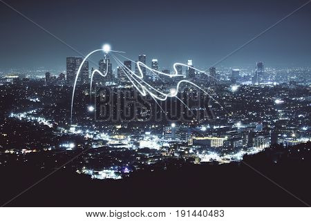 Night city texture with abstract digital objects. Technology concept