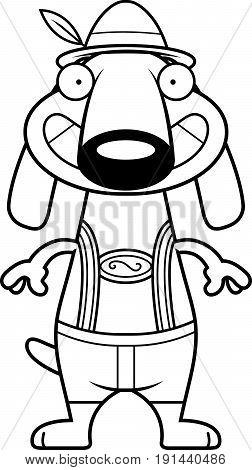 Happy Cartoon Dachshund Lederhosen