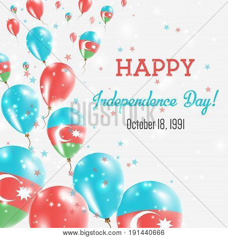 Azerbaijan Independence Day Greeting Card. Flying Balloons In Azerbaijan National Colors. Happy Inde