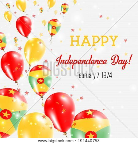 Grenada Independence Day Greeting Card. Flying Balloons In Grenada National Colors. Happy Independen