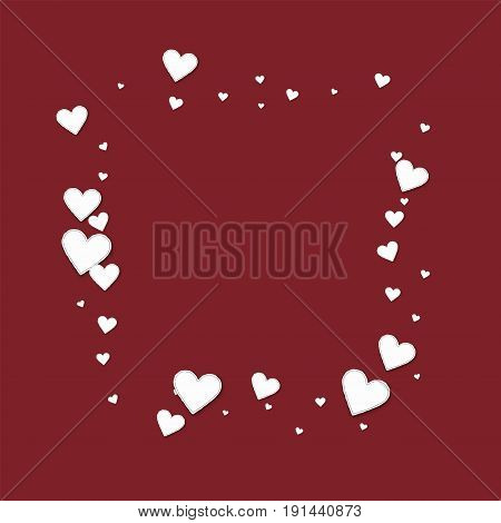 Beautiful Paper Hearts. Square Abstract Mess On Wine Red Background. Vector Illustration.