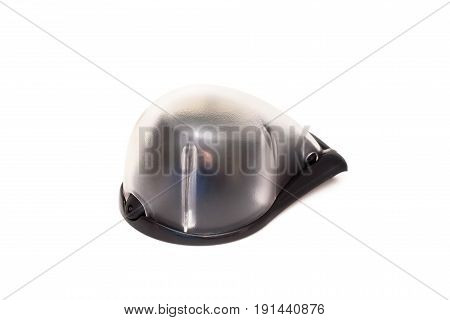 Close up small plastic knife sharpener isolated on white background