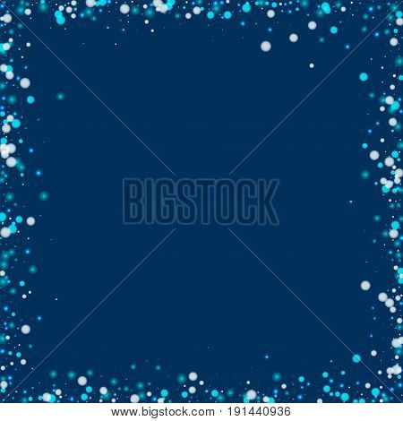 Beautiful Falling Snow. Chaotic Frame With Beautiful Falling Snow On Deep Blue Background. Vector Il