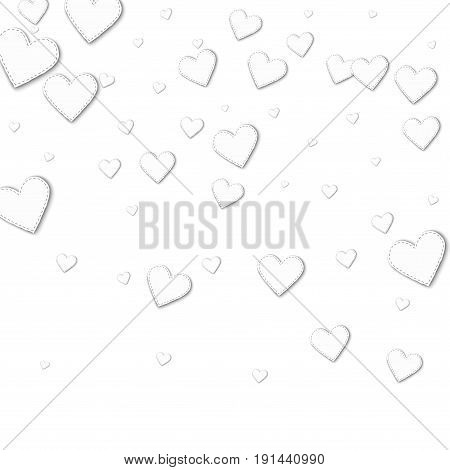 Cutout White Paper Hearts. Top Gradient With Cutout White Paper Hearts On White Background. Vector I