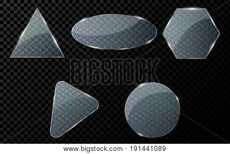 Glass objects with a cyber pattern of honeycomb with blue illumination. A set of blank banners for your projects. Hi-tech in design. Realistic clear glass. Vector illustration. EPS 10