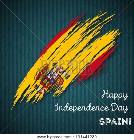 Spain Independence Day Patriotic Design. Expressive Brush Stroke In National Flag Colors On Dark Str