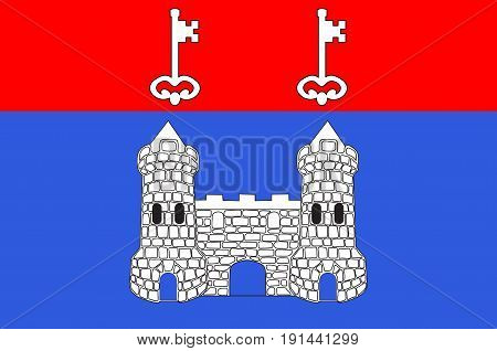 Flag of Chateau-Gontier is a commune in the Mayenne department in north-western France. Vector illustration