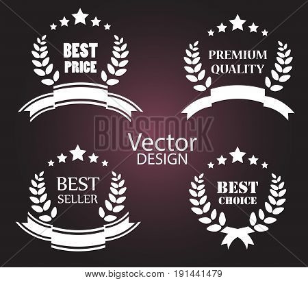 Vector set of vintage glossy colorful plastic labels for greetings and promotion. Premium Quality Guarantee, Bestseller, Best Choice, Sale.