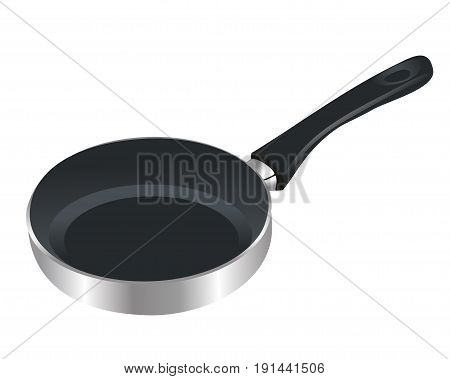 Frying pan. Cookware. Realistic design. Vector illustration.