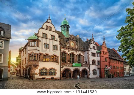 Old Town Hall (Altes Rathaus) on sunrise in Freiburg im Breisgau Baden-Wurttemberg Germany