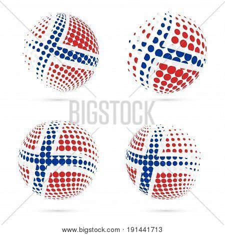 Svalbard Halftone Flag Set Patriotic Vector Design. 3D Halftone Sphere In Svalbard National Flag Col