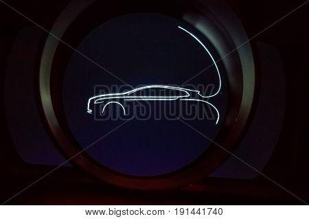 Closeup image of modern electronic spedometer og a car