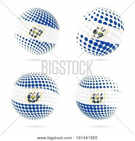 Republic Of El Salvador Halftone Flag Set Patriotic Vector Design. 3D Halftone Sphere In Republic Of