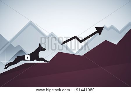 Side view of abstract dog figure running up business charts with arrow. Leadership concept. 3D Rendering