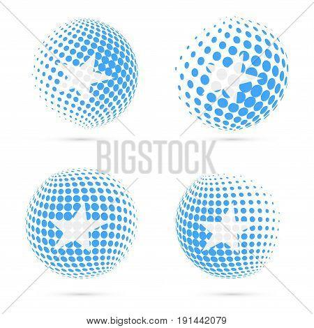 Somalia Halftone Flag Set Patriotic Vector Design. 3D Halftone Sphere In Somalia National Flag Color