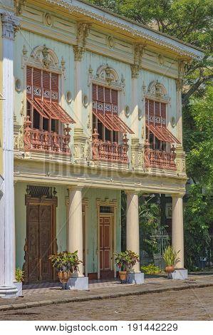 19th century reconstruction buildings elegant houses at Guayaquil Parque Historico Ecuador