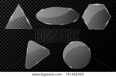 Flat glass objects with a cyber pattern of hundreds. A set of blank banners for your projects. Hi-tech in design. Brilliant clear glass. Vector illustration. EPS 10