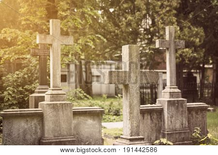 Group Of Stony Crosses At A Cemetery