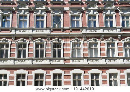 Red Facade Of An Beautiful Old House In Berlin Kreuzberg