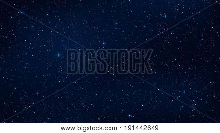 A realistic starry sky with a blue glow. Shining stars in the dark sky. Background wallpaper for your project. Vector illustration. EPS 10