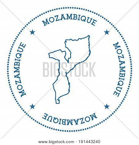 Mozambique Vector Map Sticker. Hipster And Retro Style Badge With Mozambique Map. Minimalistic Insig