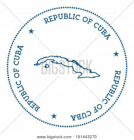 Cuba Vector Map Sticker. Hipster And Retro Style Badge With Cuba Map. Minimalistic Insignia With Rou