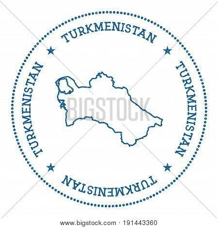 Turkmenistan Vector Map Sticker. Hipster And Retro Style Badge With Turkmenistan Map. Minimalistic I