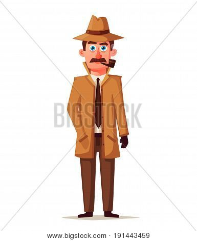 Funny detective character. Cartoon vector illustration. Cheerful inspector in raincoat. Man in hat.