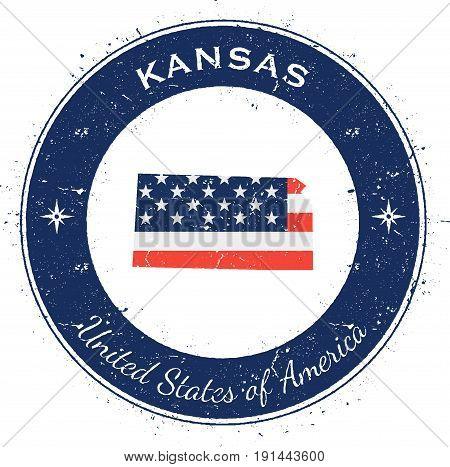 Kansas Circular Patriotic Badge. Grunge Rubber Stamp With Usa State Flag, Map And The Kansas Written