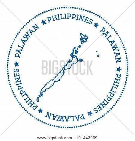 Palawan Map Sticker. Hipster And Retro Style Badge. Minimalistic Insignia With Round Dots Border. Is
