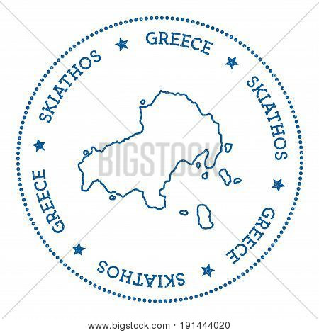 Skiathos Map Sticker. Hipster And Retro Style Badge. Minimalistic Insignia With Round Dots Border. I