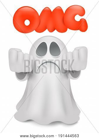 Cartoon ghost emoji character wit omg title. Vector illustration.