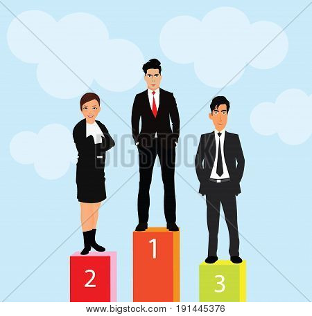 business people standing on pole with their achivement