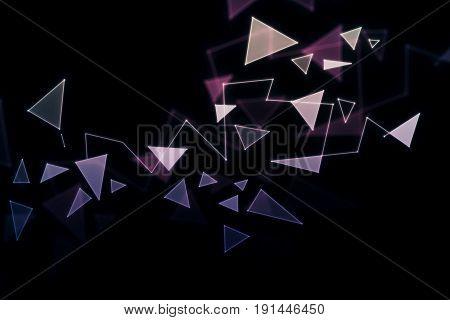 Polygonal broken glass pattern on dark background. 3D Rendering