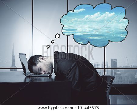 Side view of tired businessman resting head on laptop keyboard and thinking about sea in interior with city view. Overworked concept. 3D Rendering