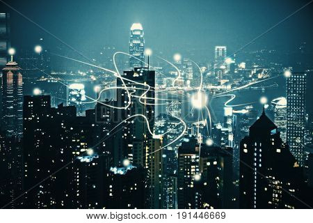 Night city backdrop with abstract digital objects. Technology concept