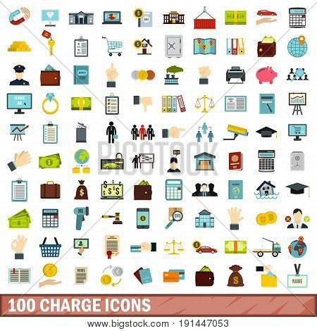 100 charge icons set in flat style for any design vector illustration