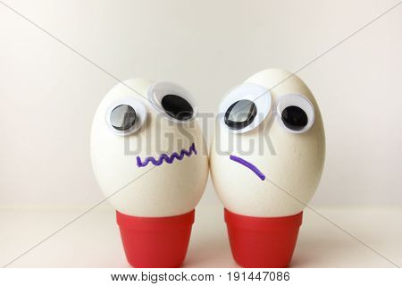 Silence Concept. Egg With A Funny Painted