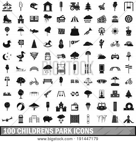 100 childrens park icons set in simple style for any design vector illustration