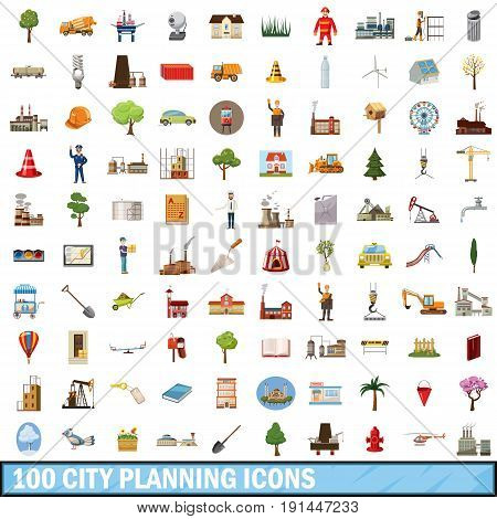 100 city planning icons set in cartoon style for any design vector illustration