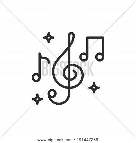 Treble clef and music notes line icon outline vector sign linear style pictogram isolated on white. Music symbol logo illustration. Editable stroke. Pixel perfect