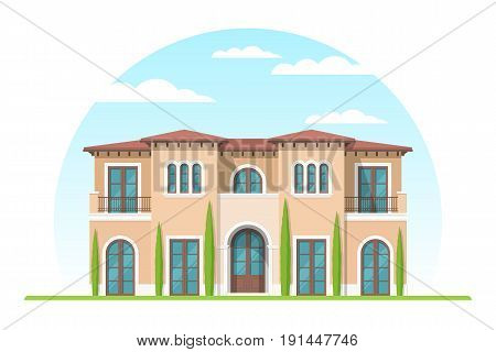 Frontview of mediterranean style suburban private house. Flat design. Vector illustration.