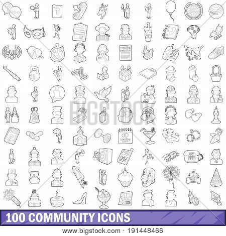 100 community cloud icons set in outline style for any design vector illustration
