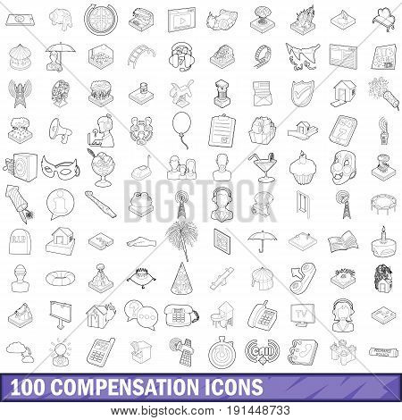 100 compensation icons set in outline style for any design vector illustration