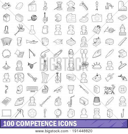 100 competence icons set in outline style for any design vector illustration