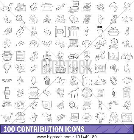 100 contribution icons set in outline style for any design vector illustration